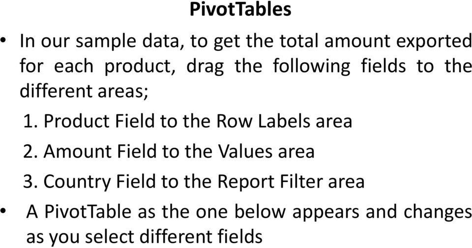 Product Field to the Row Labels area 2. Amount Field to the Values area 3.