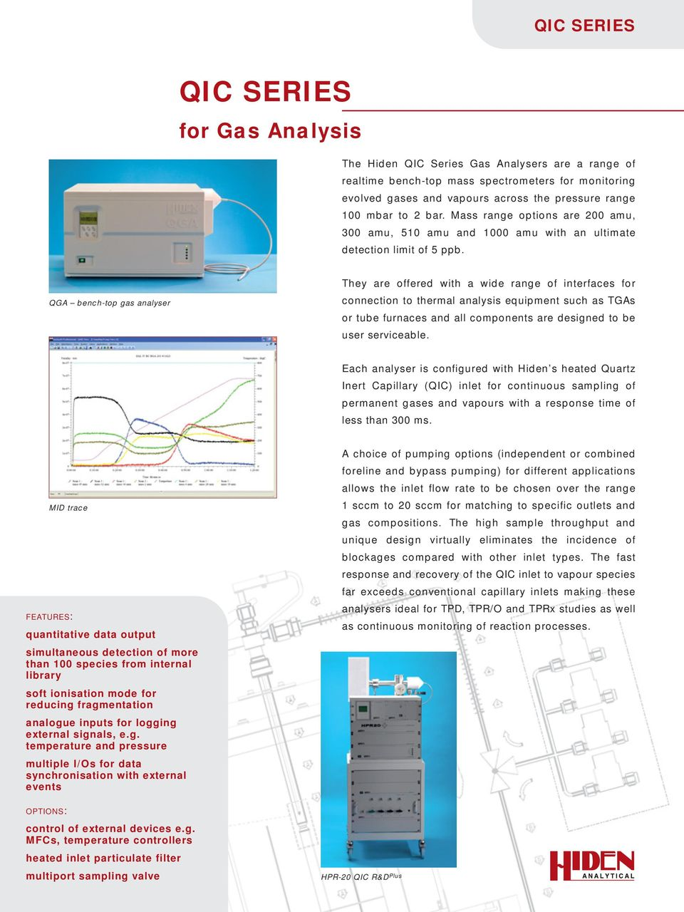 QGA bench-top gas analyser They are offered with a wide range of interfaces for connection to thermal analysis equipment such as TGAs or tube furnaces and all components are designed to be user