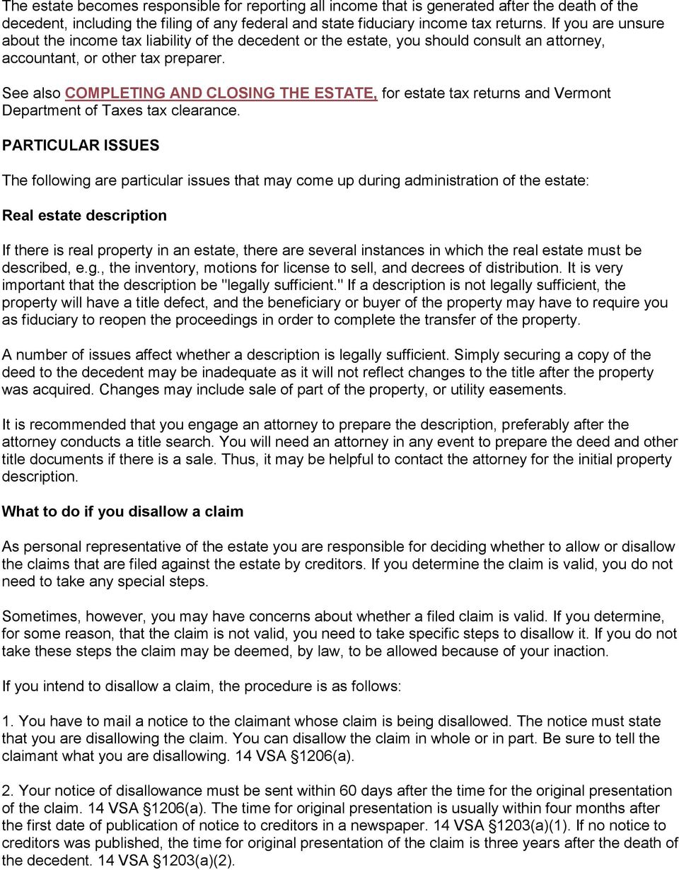The vermont probate court instructions for settling estates foreword see also completing and closing the estate for estate tax returns and vermont department of spiritdancerdesigns Gallery
