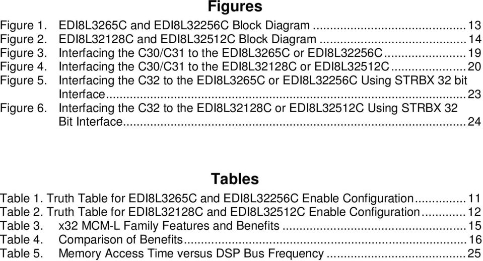 Interfacing the C32 to the EDI8L32128C or EDI8L32512C Using TRBX 32 Bit Interface... 24 Tables Table 1. Truth Table for EDI8L3265C and EDI8L32256C Enable Configuration... 11 Table 2.