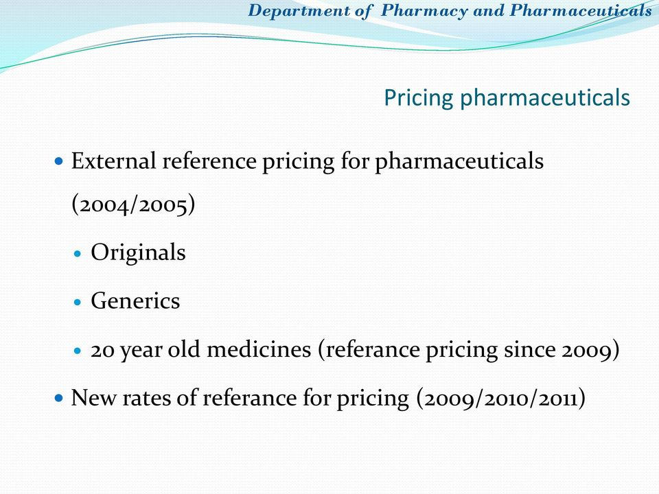 20 year old medicines (referance pricing since