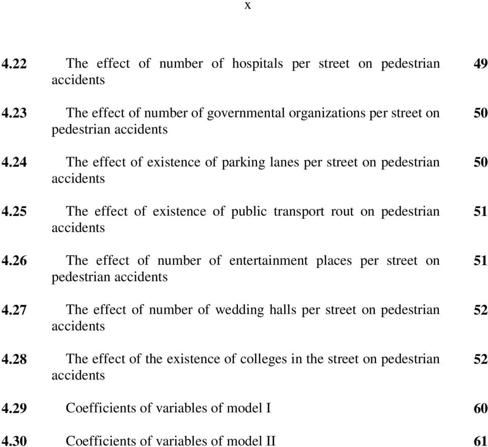 24 The effect of existence of parking lanes per street on pedestrian accidents 50 4.25 The effect of existence of public transport rout on pedestrian accidents 51 4.