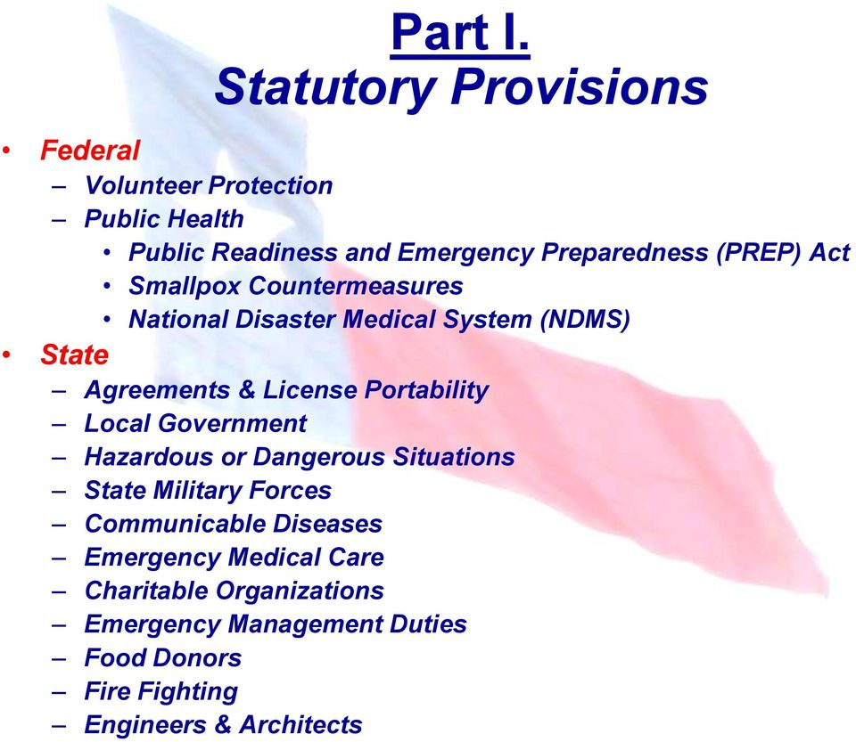 (PREP) Act Smallpox Countermeasures National Disaster Medical System (NDMS) State Agreements & License