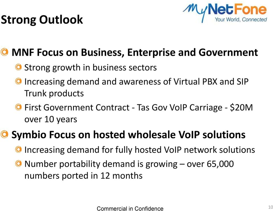 VoIP Carriage - $20M over 10 years Symbio Focus on hosted wholesale VoIP solutions Increasing demand for