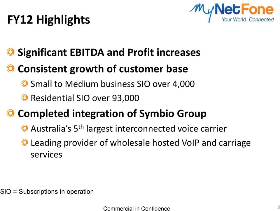 integration of Symbio Group Australia s 5 th largest interconnected voice carrier