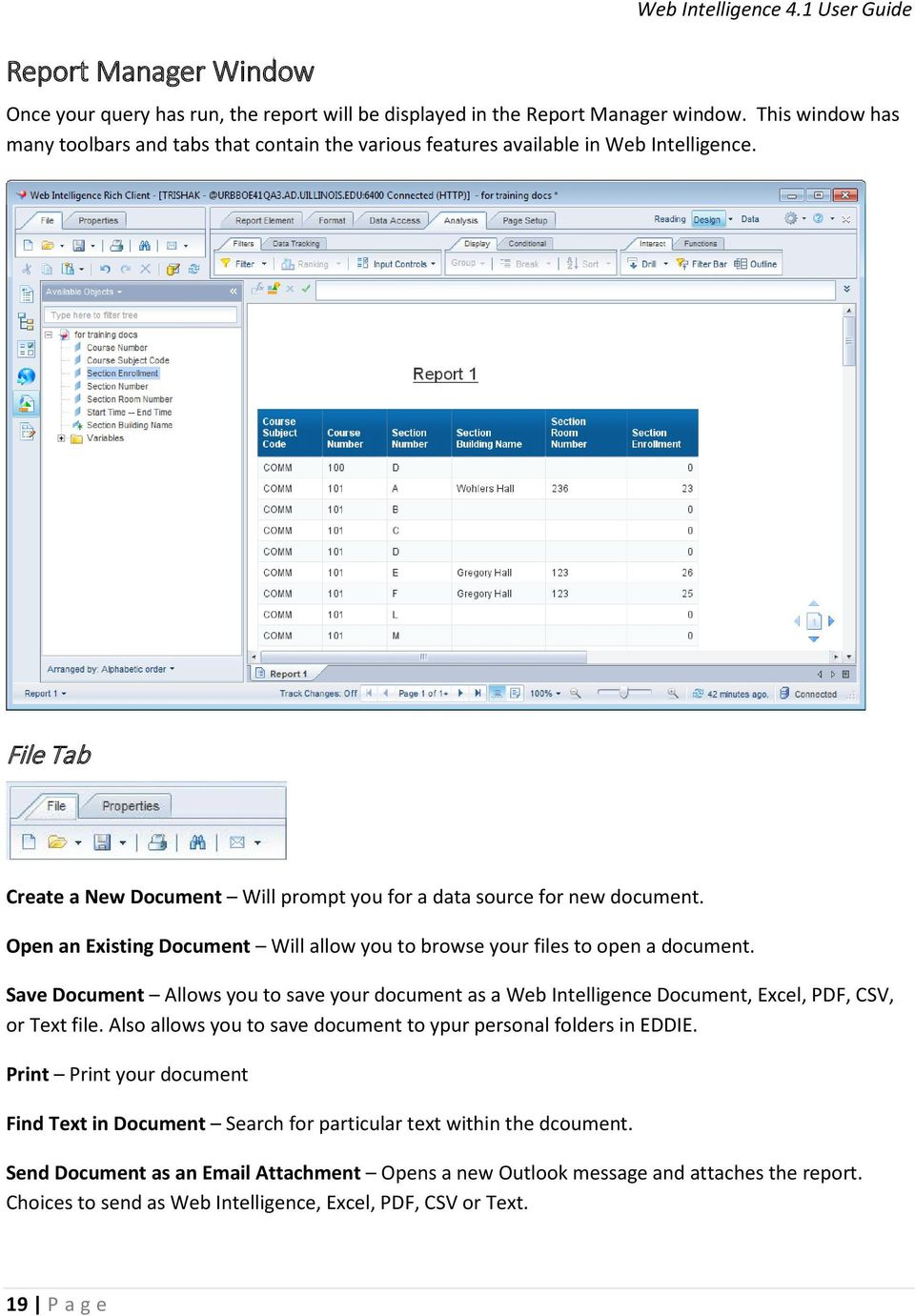 Open an Existing Document Will allow you to browse your files to open a document. Save Document Allows you to save your document as a Web Intelligence Document, Excel, PDF, CSV, or Text file.