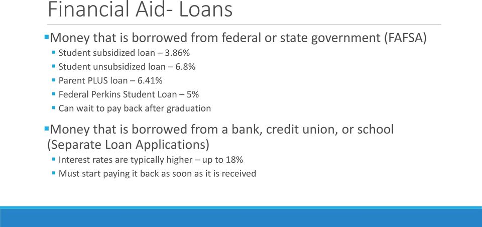 41% Federal Perkins Student Loan 5% Can wait to pay back after graduation Money that is borrowed from a
