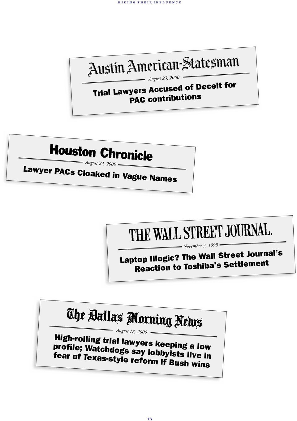 The Wall Street Journal s Reaction to Toshiba s Settlement August 18, 2000 High-rolling trial