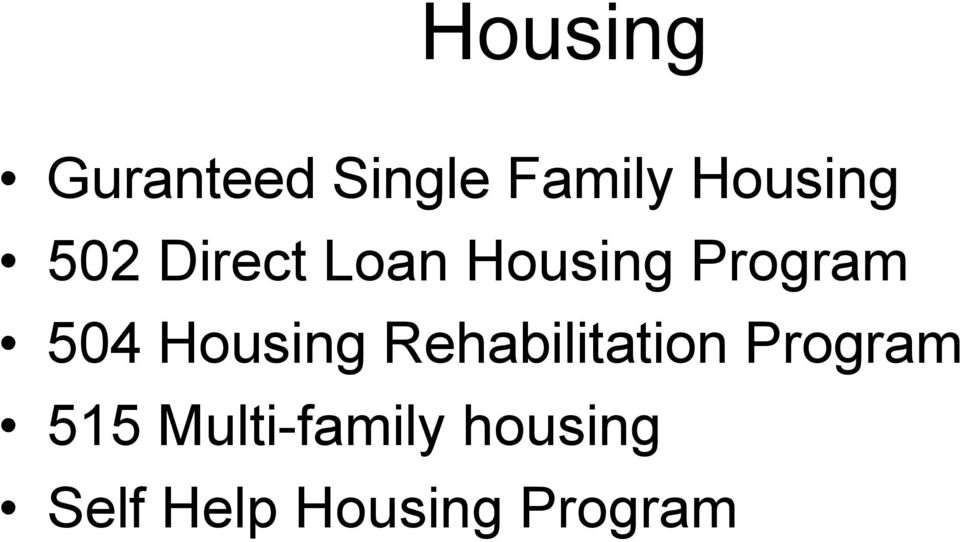 Housing Rehabilitation Program 515