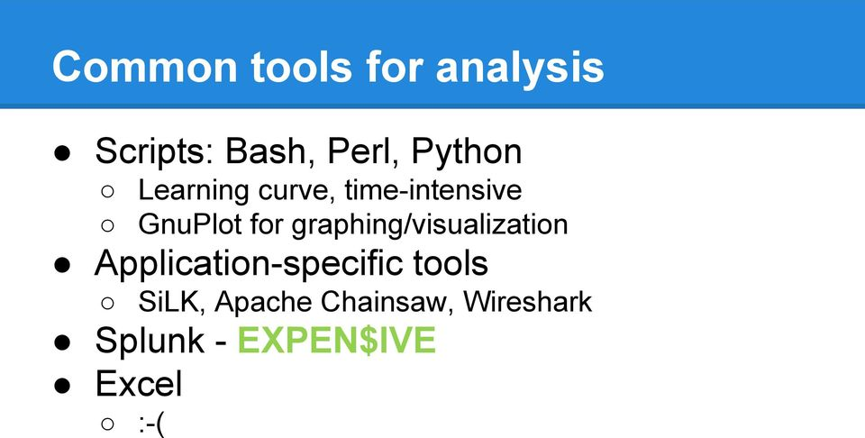 graphing/visualization Application-specific tools