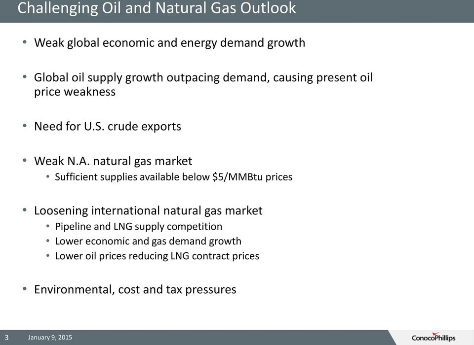 natural gas market Sufficient supplies available below $5/MMBtu prices Loosening international natural gas market