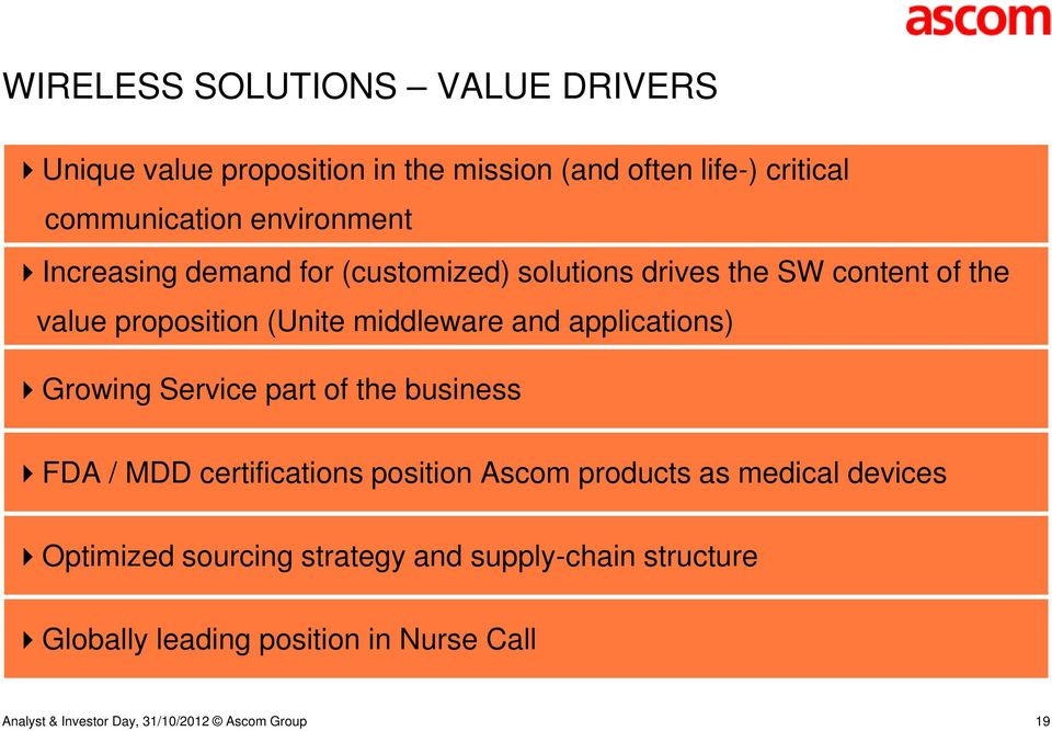 middleware and applications) Growing Service part of the business FDA / MDD certifications position Ascom