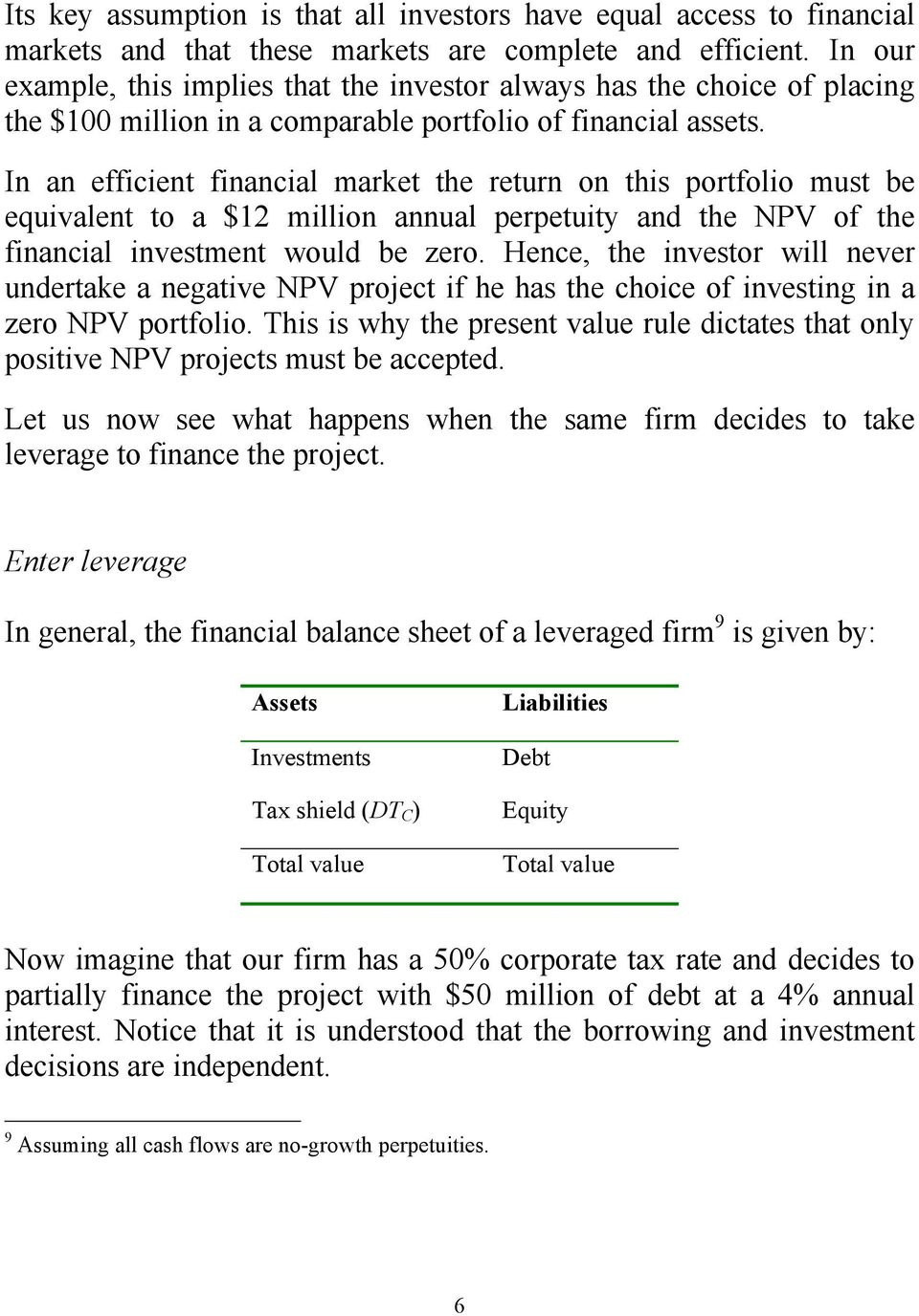 In an efficient financial market the return on this portfolio must be equivalent to a $12 million annual perpetuity and the NPV of the financial investment would be zero.