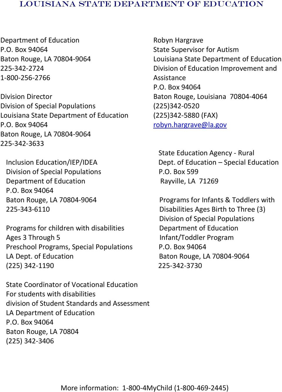 Box 94064 Baton Rouge, LA 70804-9064 225-342-3633 Robyn Hargrave State Supervisor for Autism Louisiana State Department of Education Division of Education Improvement and Assistance P.O.