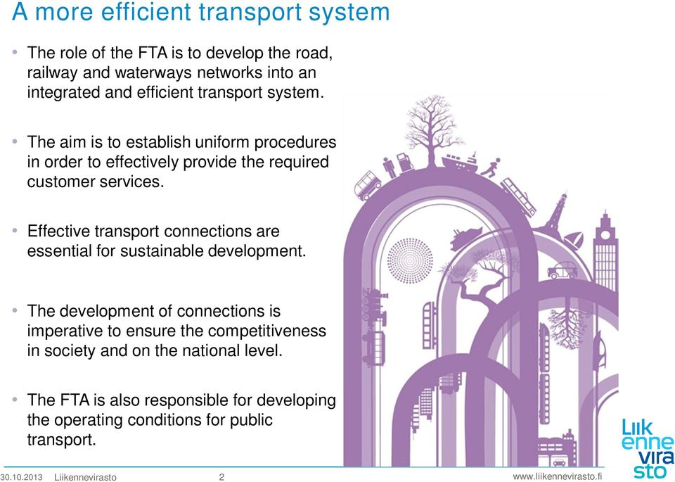 Effective transport connections are essential for sustainable development.