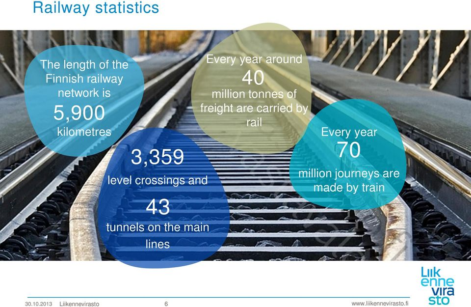 Every year around 40 million tonnes of freight are carried by rail
