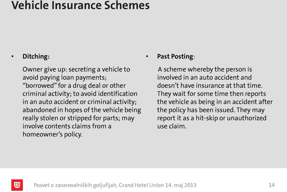 contents claims from a homeowner s policy. Past Posting: A scheme whereby the person is involved in an auto accident and doesn t have insurance at that time.