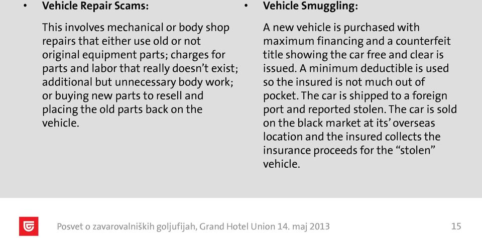 Vehicle Smuggling: A new vehicle is purchased with maximum financing and a counterfeit title showing the car free and clear is issued.