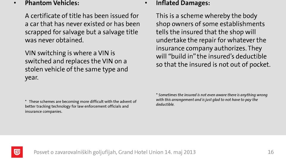Inflated Damages: This is a scheme whereby the body shop owners of some establishments tells the insured that the shop will undertake the repair for whatever the insurance company authorizes.