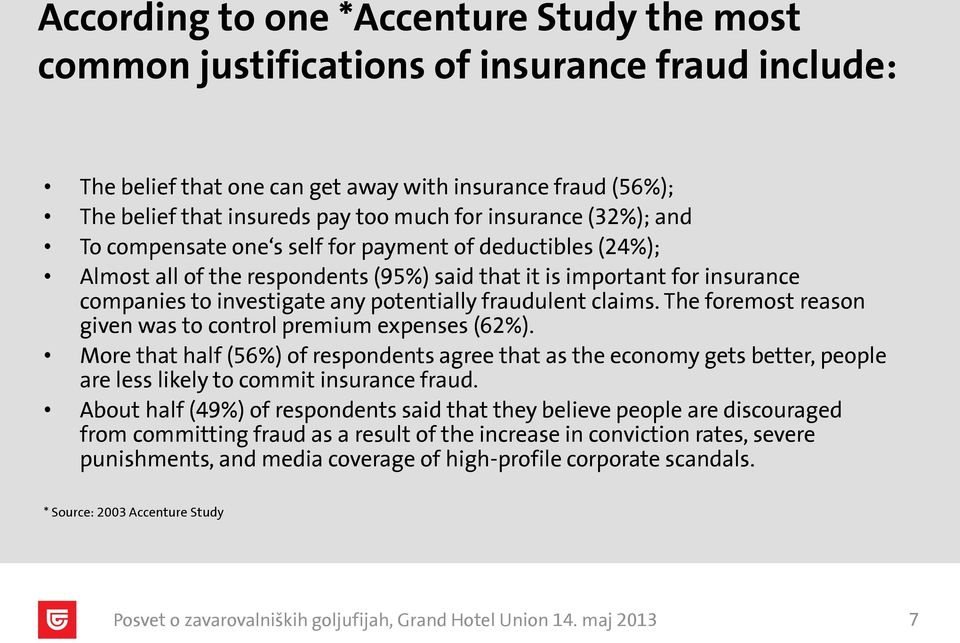 fraudulent claims. The foremost reason given was to control premium expenses (62%).