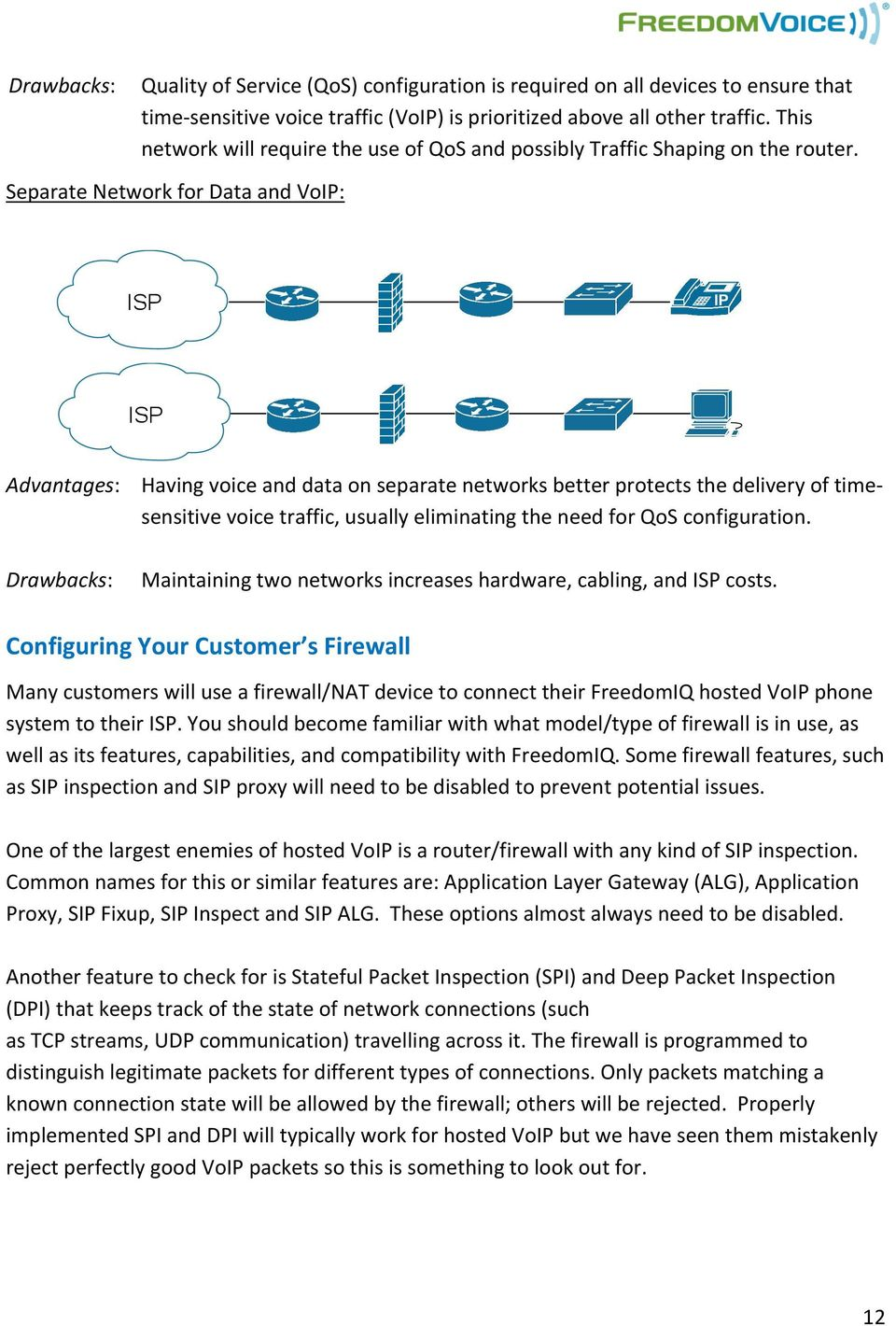 Separate Network for Data and VoIP: Advantages: Having voice and data on separate networks better protects the delivery of time- sensitive voice traffic, usually eliminating the need for QoS