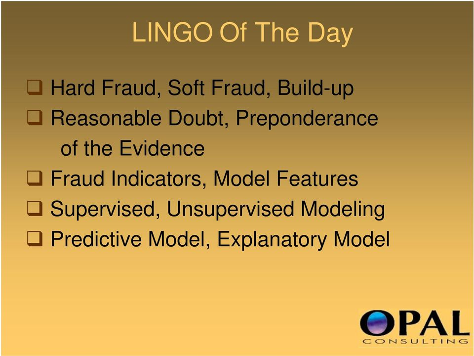 Fraud Indicators, Model Features Supervised,