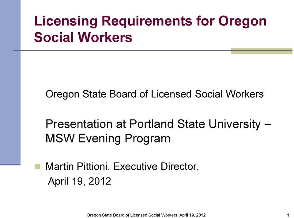 Presentation at Portland State University MSW