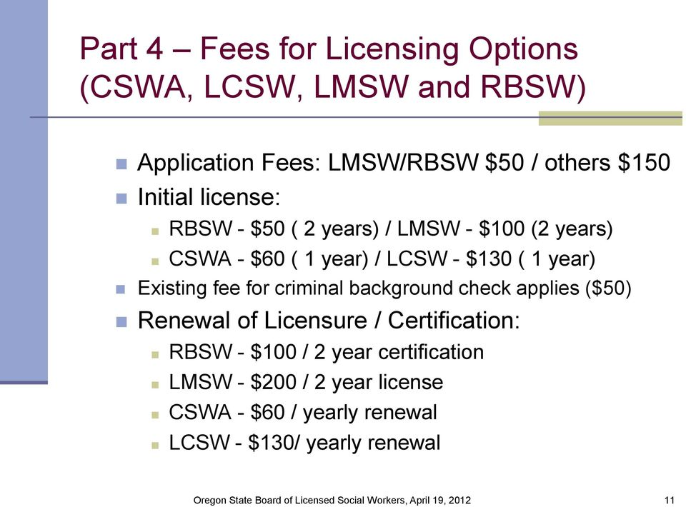 Existing fee for criminal background check applies ($50) Renewal of Licensure / Certification: RBSW - $100 /
