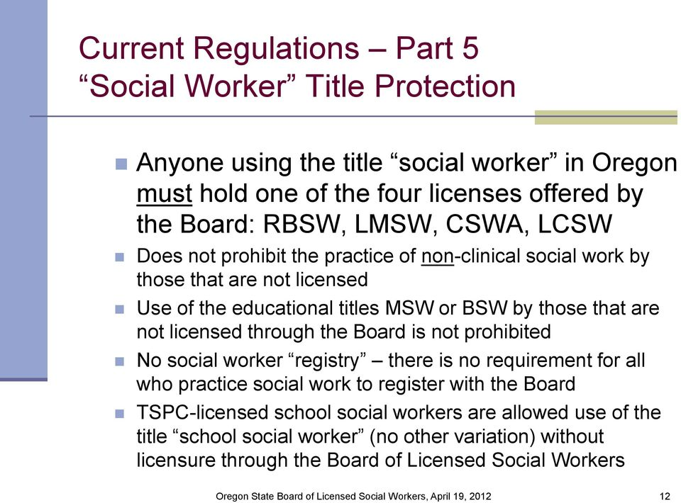 that are not licensed through the Board is not prohibited No social worker registry there is no requirement for all who practice social work to register with the