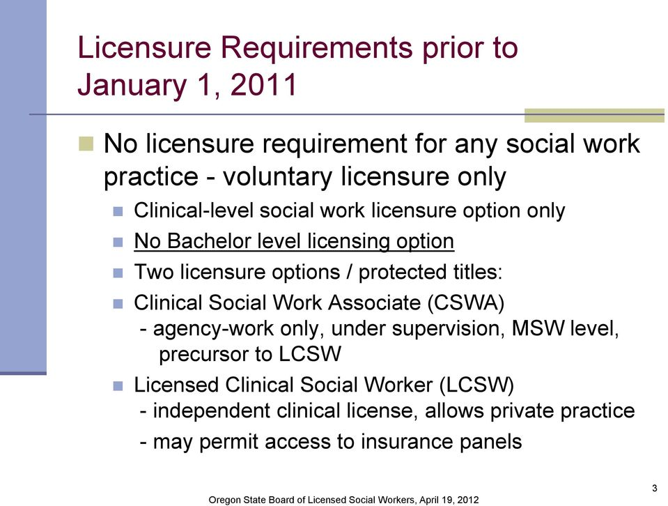 titles: Clinical Social Work Associate (CSWA) - agency-work only, under supervision, MSW level, precursor to LCSW Licensed