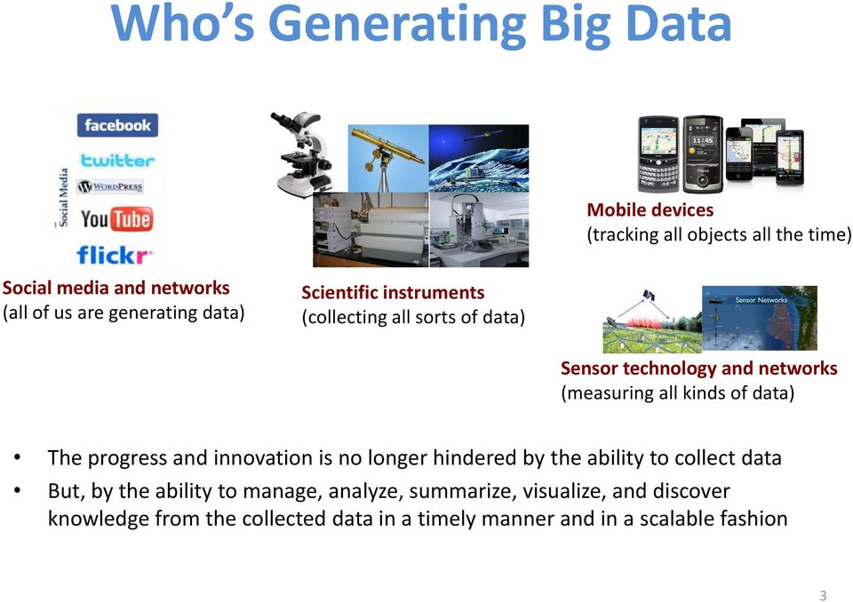 kinds of data) The progress and innovation is no longer hindered by the ability to collect data But, by the ability to