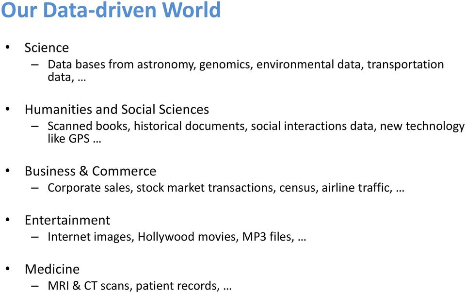 technology like GPS Business & Commerce Corporate sales, stock market transactions, census, airline