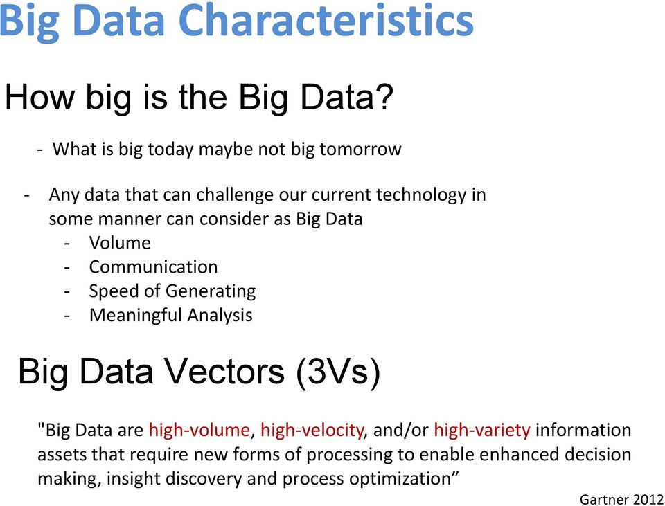 "consider as Big Data - Volume - Communication - Speed of Generating - Meaningful Analysis Big Data Vectors (3Vs) ""Big"