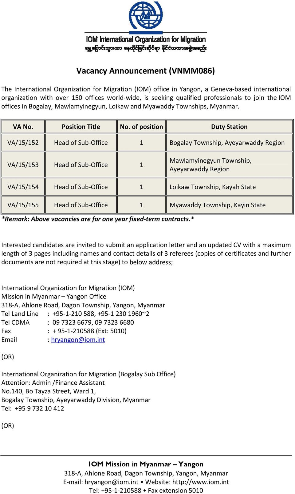 of position Duty Station VA/15/152 Head of Sub Office 1 Bogalay Township, Ayeyarwaddy Region VA/15/153 Head of Sub Office 1 Mawlamyinegyun Township, Ayeyarwaddy Region VA/15/154 Head of Sub Office 1
