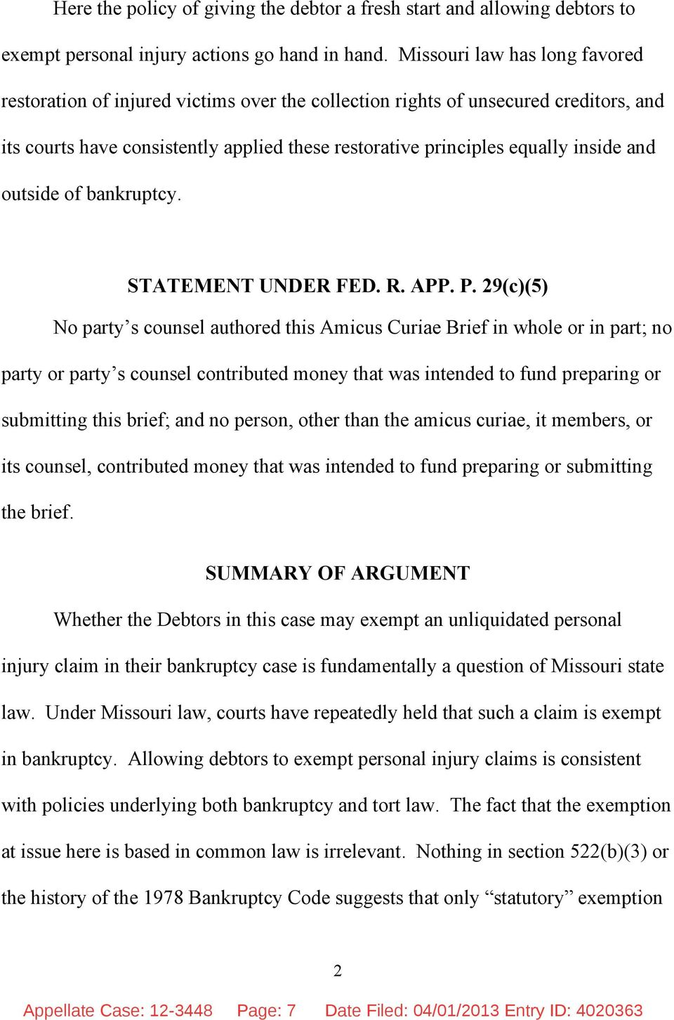 and outside of bankruptcy. STATEMENT UNDER FED. R. APP. P.