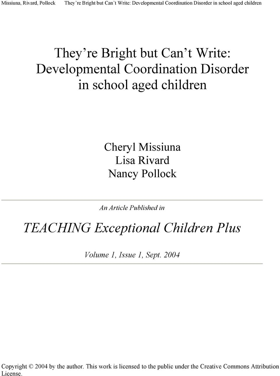 Exceptional Children Plus Volume 1, Issue 1, Sept.