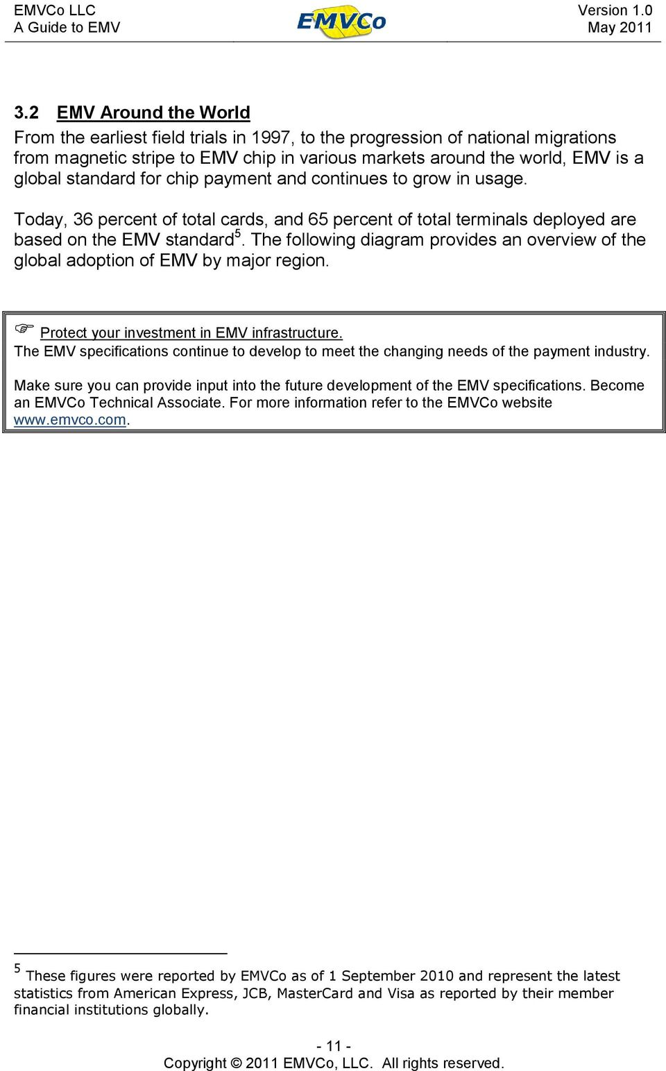 The following diagram provides an overview of the global adoption of EMV by major region. Protect your investment in EMV infrastructure.