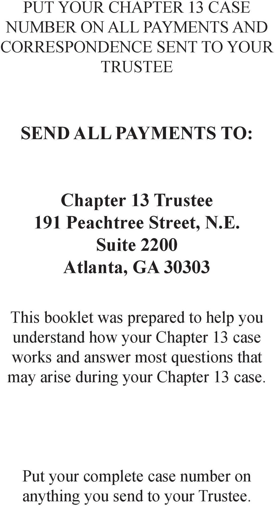 TS TO: Chapter 13 Trustee 191 Peachtree Street, N.E.
