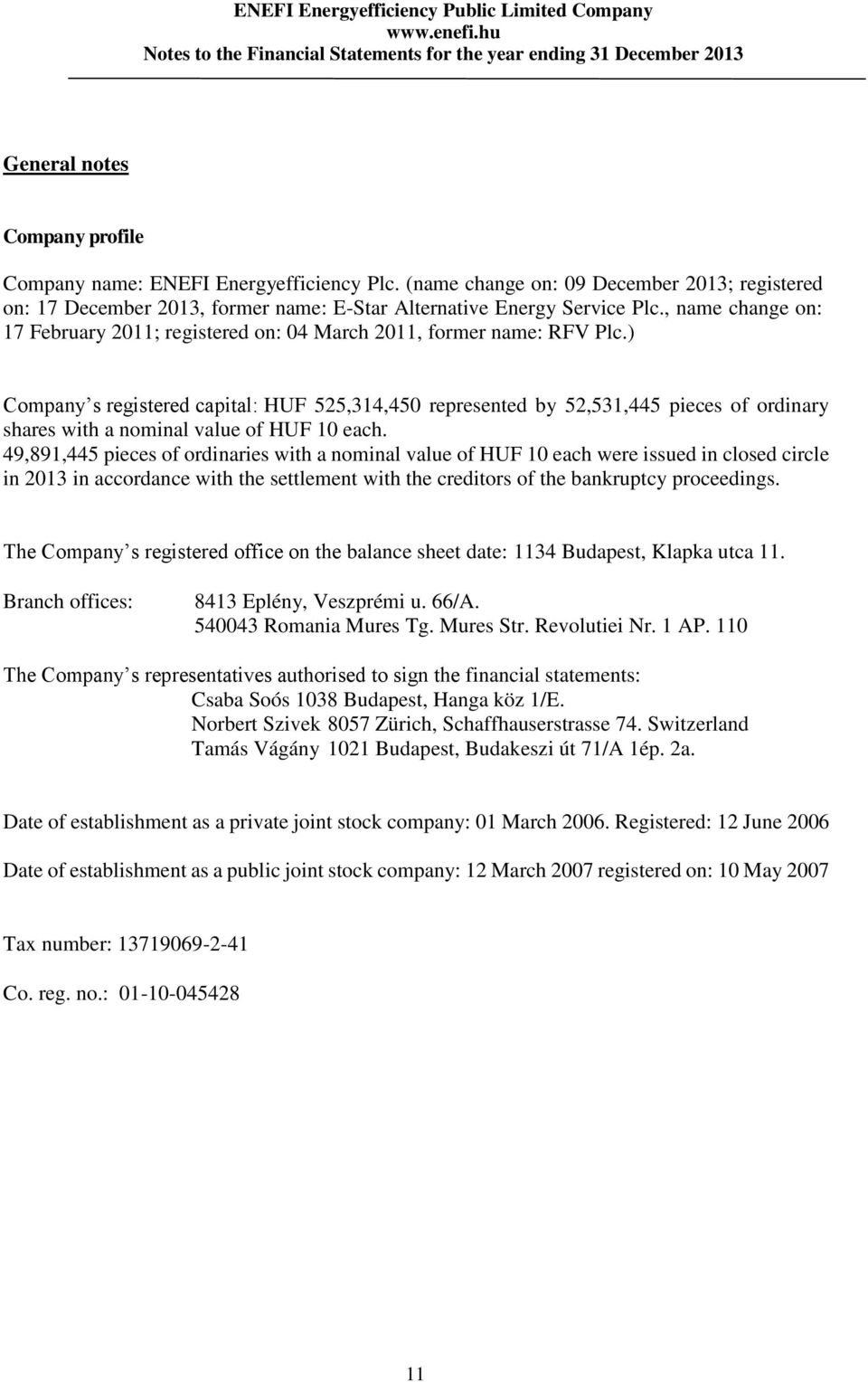 ) Company s registered capital: HUF 525,314,450 represented by 52,531,445 pieces of ordinary shares with a nominal value of HUF 10 each.