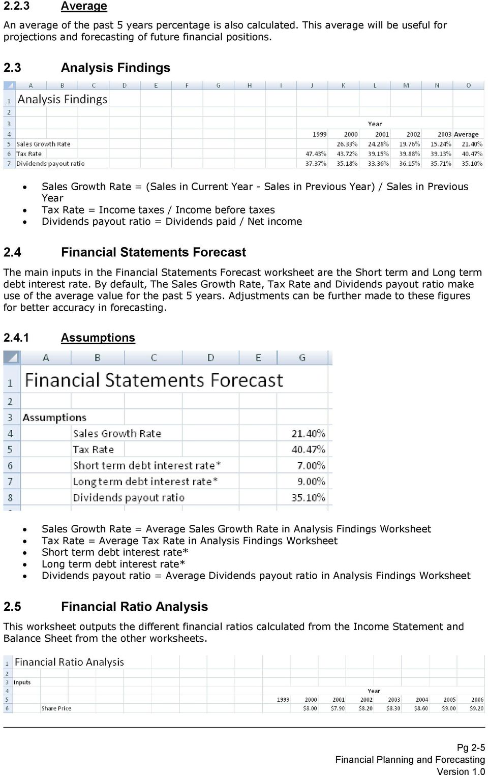/ Net income 2.4 Financial Statements Forecast The main inputs in the Financial Statements Forecast worksheet are the Short term and Long term debt interest rate.