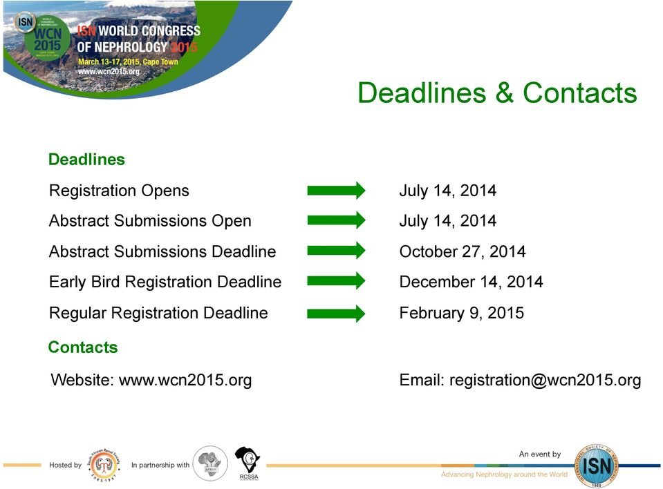 Registration Deadline July 14, 2014 July 14, 2014 October 27, 2014 December