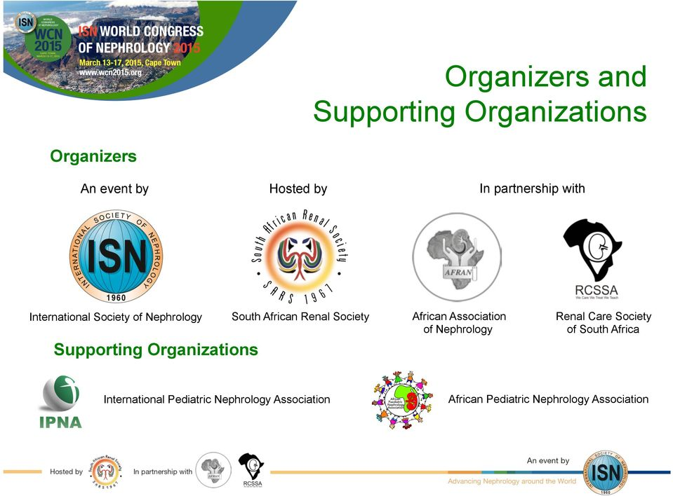 African Association of Nephrology Renal Care Society of South Africa Supporting