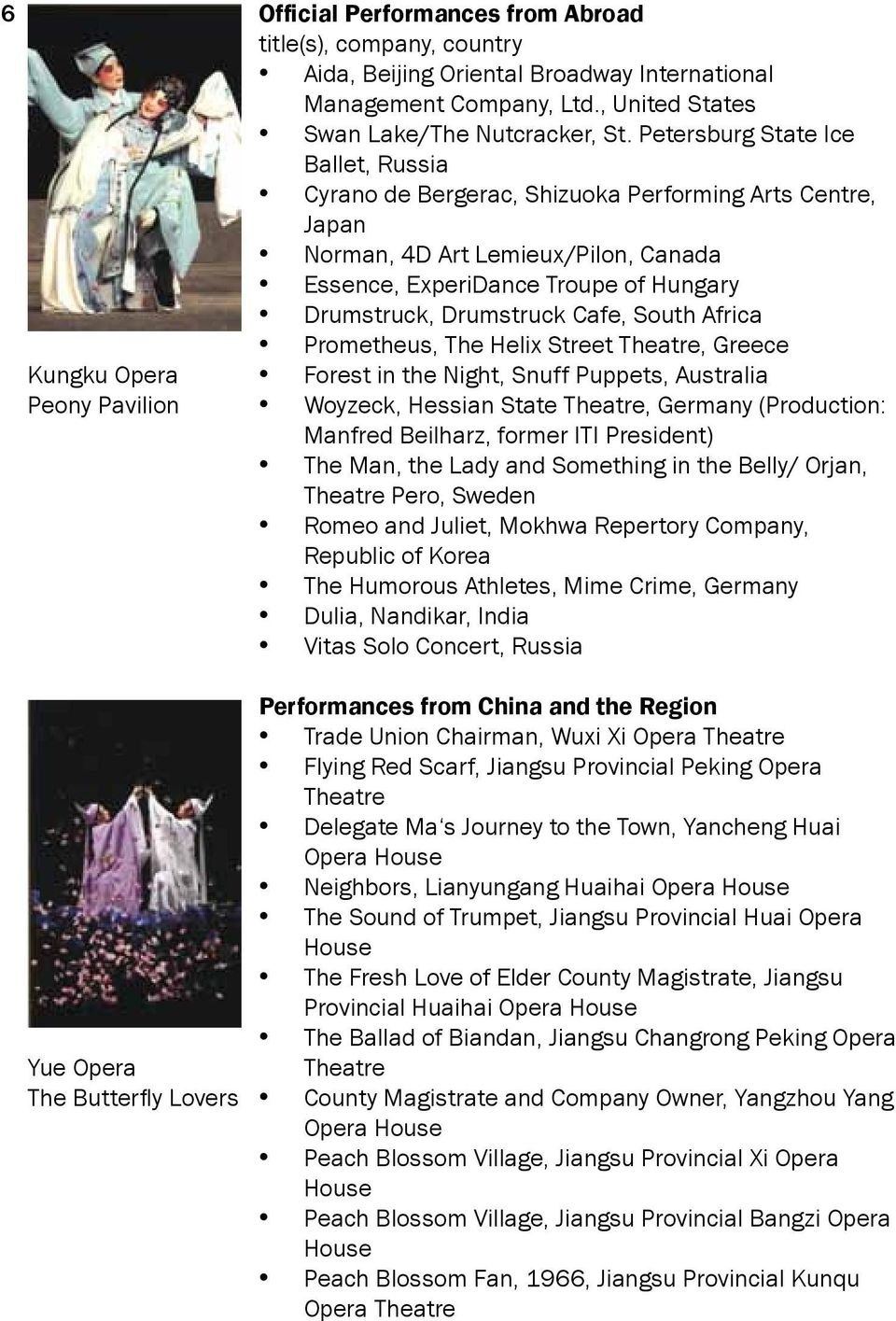 Petersburg State Ice Ballet, Russia Cyrano de Bergerac, Shizuoka Performing Arts Centre, Japan Norman, 4D Art Lemieux/Pilon, Canada Essence, ExperiDance Troupe of Hungary Drumstruck, Drumstruck Cafe,