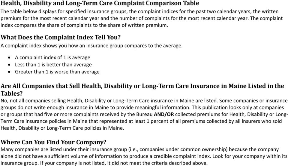 A complaint index shows you how an insurance group compares to the average.
