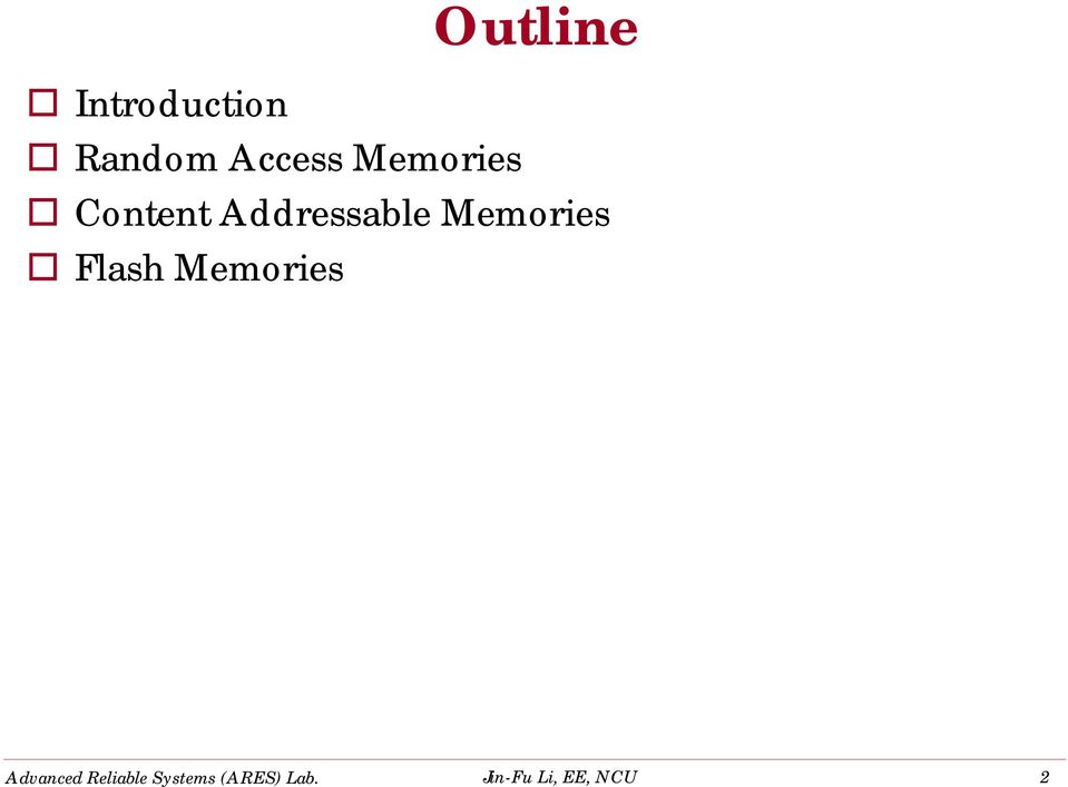 Introduction Random Access Memories