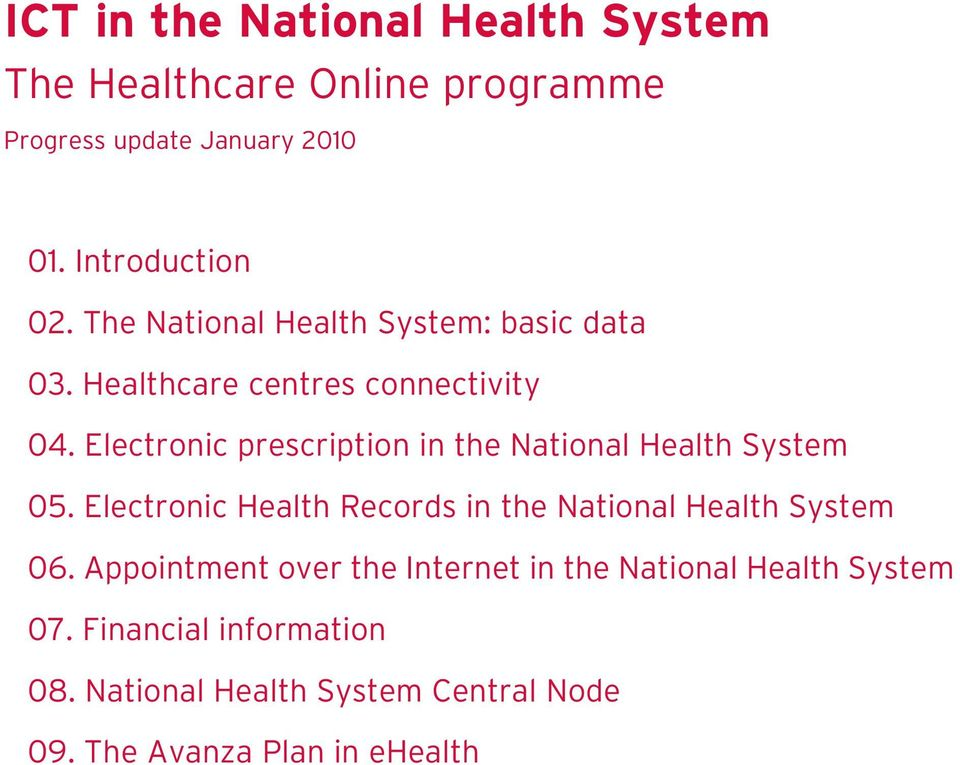 Electronic prescription in the National Health System 05. Electronic Health Records in the National Health System 06.