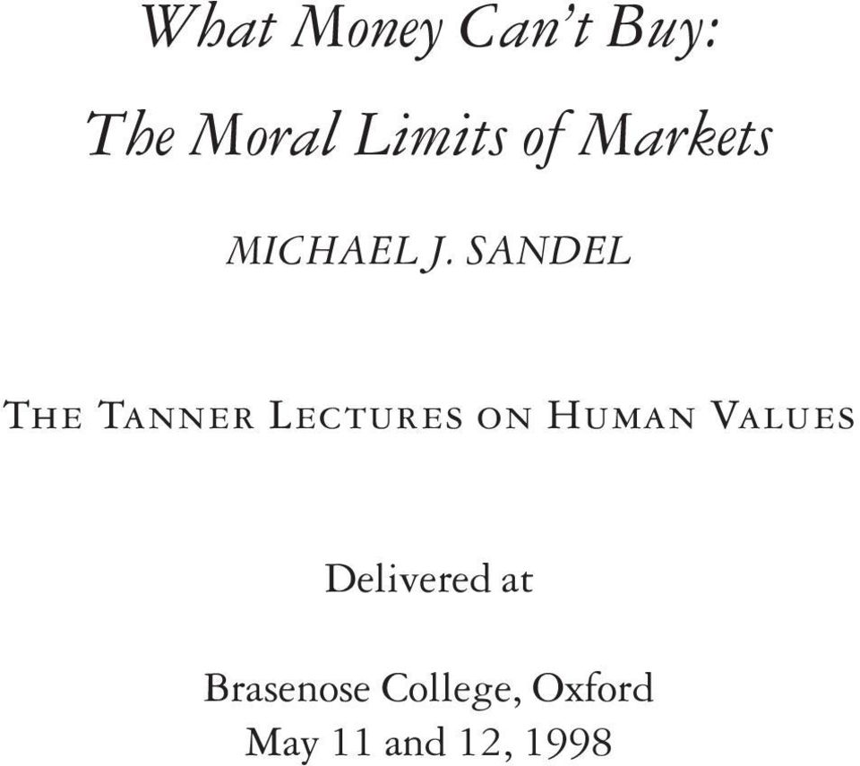 SANDEL The Tanner Lectures on Human