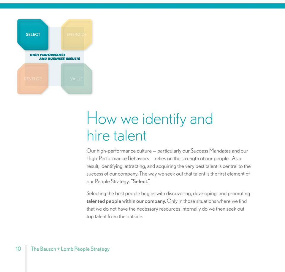 The way we seek out that talent is the first element of our People Strategy: Select.