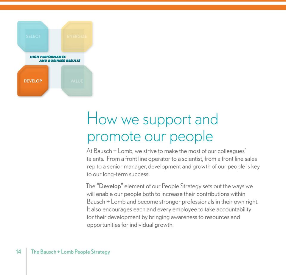 The Develop element of our People Strategy sets out the ways we will enable our people both to increase their contributions within Bausch + Lomb and become stronger professionals in