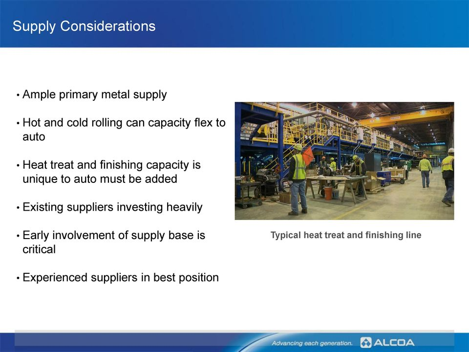 be added Existing suppliers investing heavily Early involvement of supply base